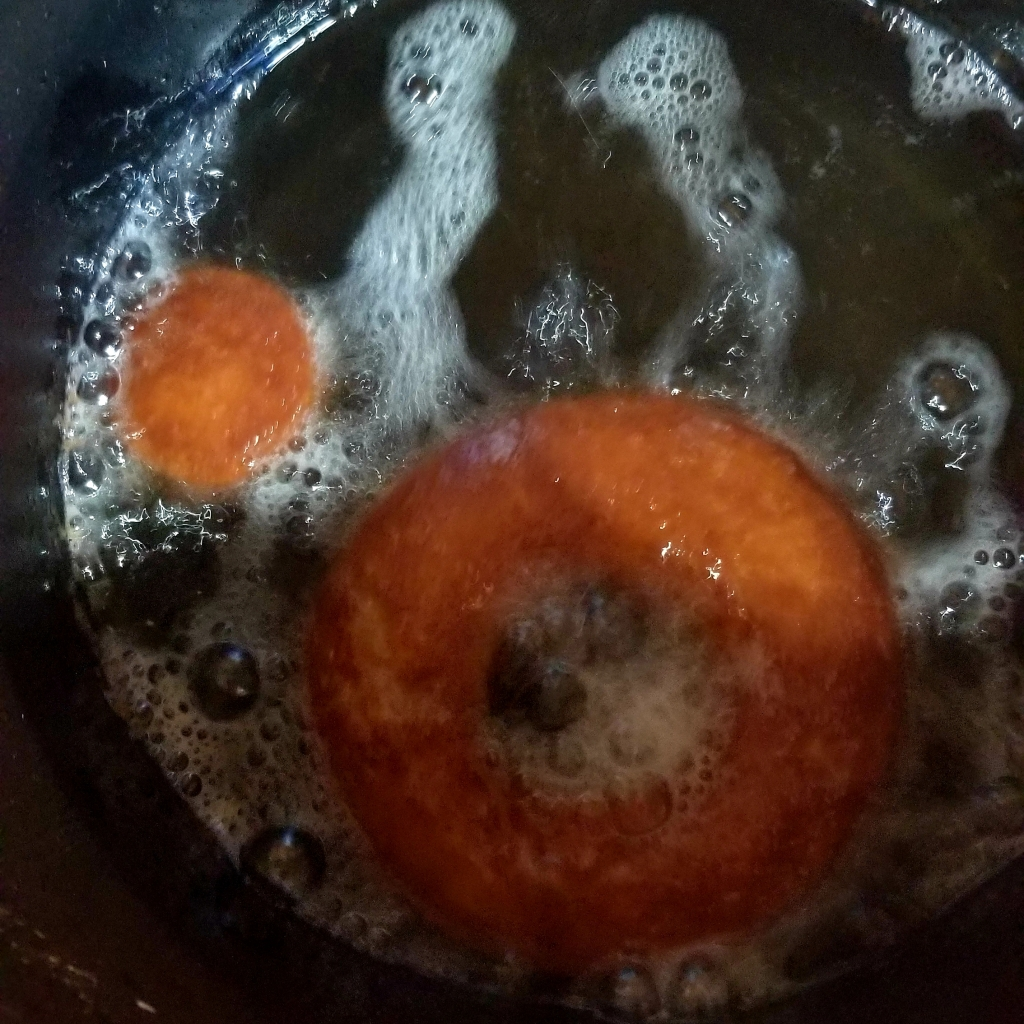 Keto Cake Donuts in Deep Fryer